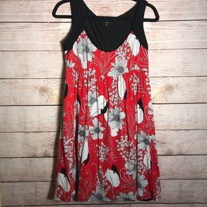 Molly New York Red and Black Floral Dress L
